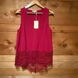 Tops - Burgundy Tunic with Crochet Hemline